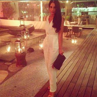 pants xammasi jumpsuit white jumpsuit front zip front zip jumpsuit jwshua white beige heels asos zara top shop river island