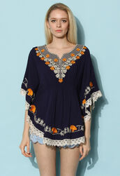 top,chicwish,chamomile,poncho,embroidered top,oho top,boho top,spring top,summer top,chicwish.com