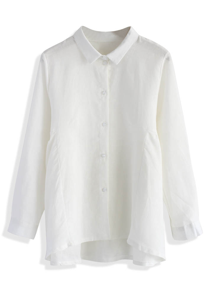 Dolly Flare Shirt in White - Retro, Indie and Unique Fashion