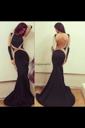 dress,black bodycon gown sleeve less open back mermaid,prom dress,long prom dress,black dress,special occasion dress,long dress,long sleeves,long sleeve dress