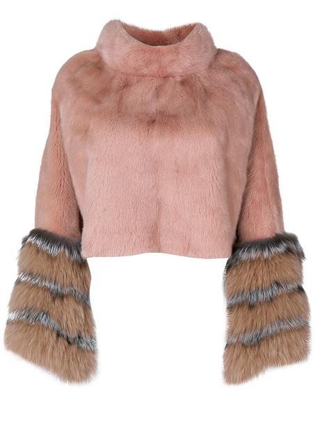 Cara Mila poncho fur fox women purple pink top