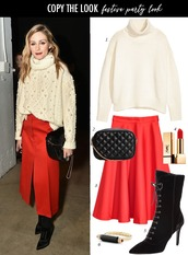 dailystylefinds,blogger,sweater,bag,skirt,make-up,shoes,jewels,celebrity,celebrity style,turtleneck sweater,fall outfits,boots,midi skirt,red skirt