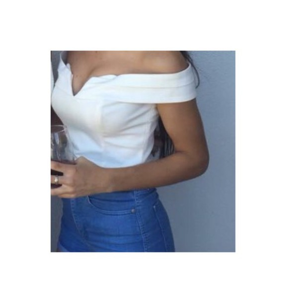 0a1902071abd4 shirt white top crop tops off the shoulder fancy bustier crop top off the  sholder white