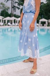 skirt,tumblr,blue skirt,midi skirt,lace skirt,light blue,top,blue top,matching set,sandals,flat sandals,slide shoes