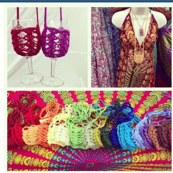 bag wine necklace wine sling crochet handmade cotton