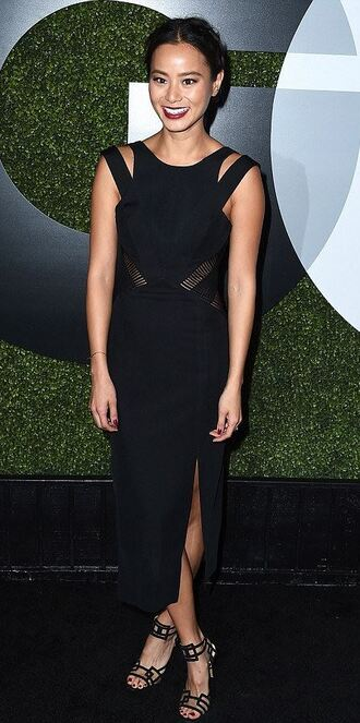 dress midi dress black dress jamie chung sandals slit dress shoes charlotte olympia