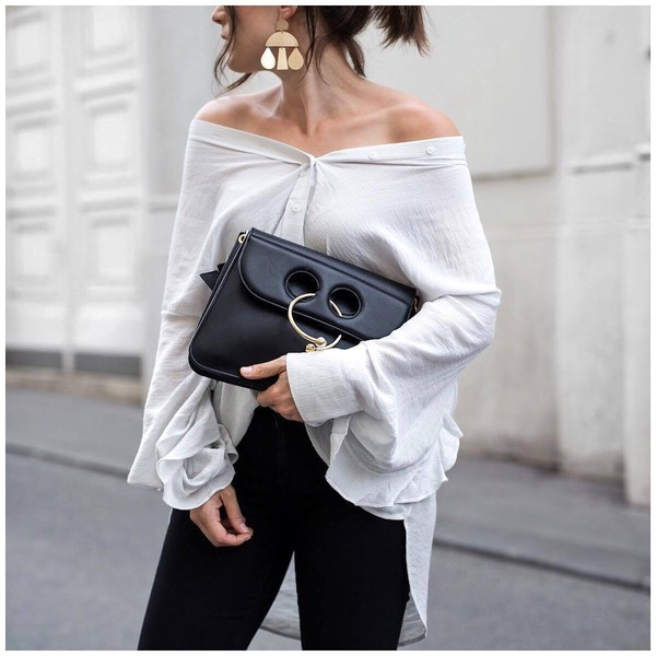 shirt tumblr off the shoulder off the shoulder top white shirt bag black bag JW Anderson bag earrings gold earrings accessories Accessory jewels