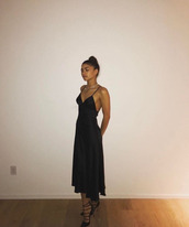 dress,camisole,cami dress,zendaya,pumps,midi dress,black dress,satin dress,shoes