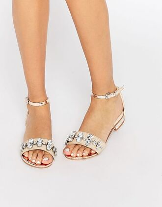 shoes jeweled sandals flat sandals sandals nude sandals
