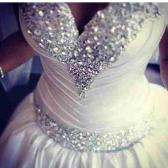 dress white bling love wedding gown diamonds cristal ball gown lovely cute fashion wedding wedding dress sweetheart neckline