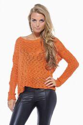 orange sweater,rust sweater,loose sweater,open knit sweater,long sleeve sweater,www.ustrendy.com