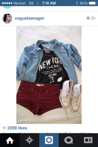 shirt converse instagram maroon shorts denim jacket cute shirt cute denim shirt burgundy shorts red shorts