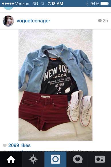 red shorts denim jacket shorts burgundy shirt denim shirt converse maroon shorts instagram cute shirt cute