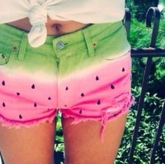 shorts watermelon cute jeans green