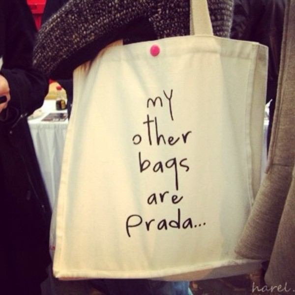 a8b364af3fe My Other Bags Are Prada 100 Organic Cotton Large Size Beige Fashion ...