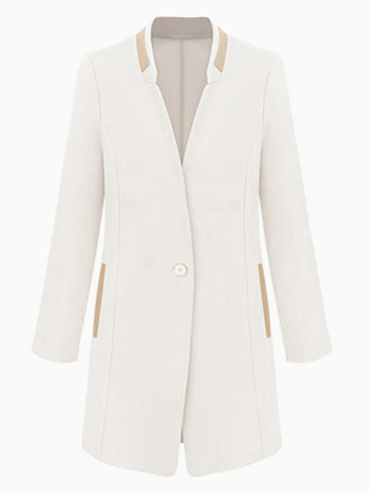White Blazer With Contrast Trim Detail | Choies