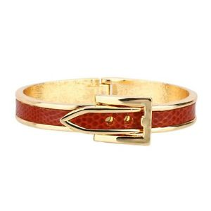 ARINNA 18K Yellow Gold GP Red Belt Print Fashion Bangle Bracelet | eBay