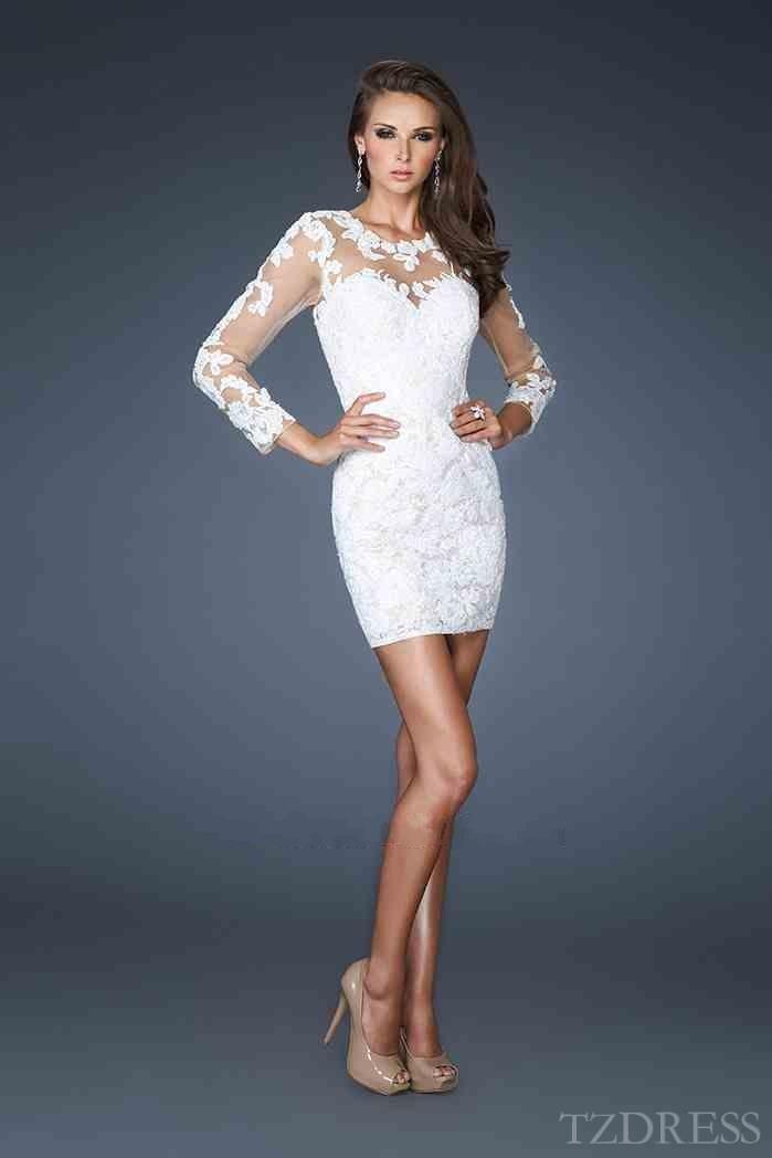 Embellished Long Sleeves White Lace Short Sheath Prom Dresses Sale tzdress3749