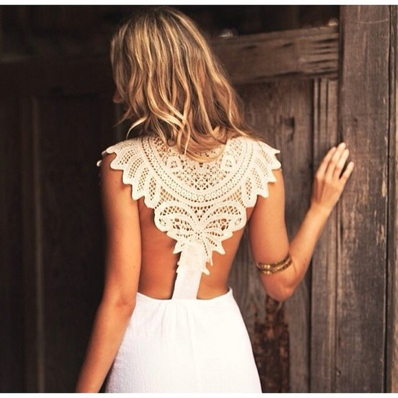 dress crochet boho gypsy cute backless dress white dress crochet dress cute dress boho chic festival lace dress lacey fashion white #dress #lace whitedress