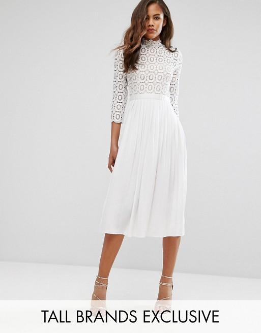 9fe480e17ca Little Mistress Tall 3 4 Sleeve Lace Top Pleated Midi Dress at asos.com