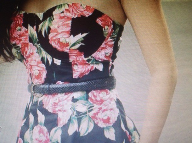 dress floral dress strapless short cocktail dress?