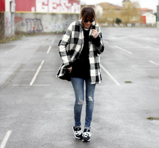 rebel attitude blogger flannel winter coat coat jeans sweater shoes