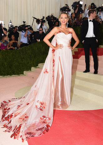 dress gown bustier bustier dress blake lively metgala2016 long prom dress pink dress floral dress met gala