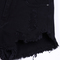 Black buttons ripped fringe denim shorts - sheinside.com