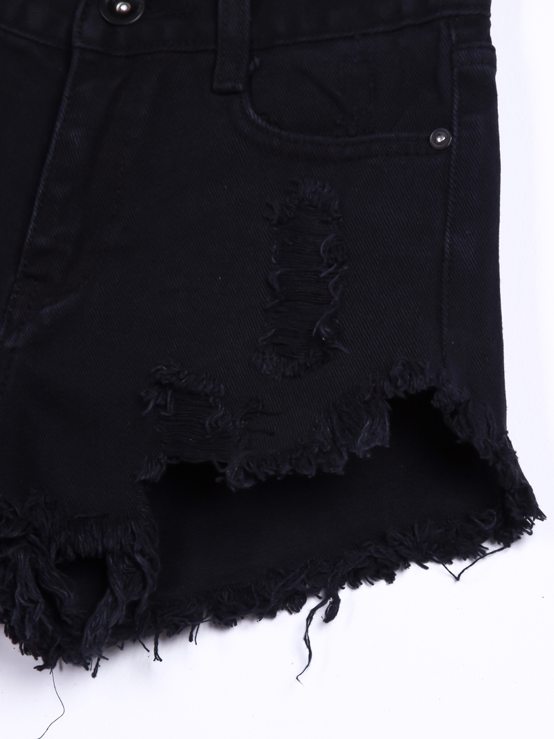 Black buttons ripped fringe denim shorts