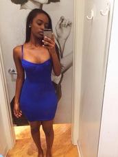 dress,bodycon dress,tube dress,blue bustier dress,blue dress,short fitted dresses,blue