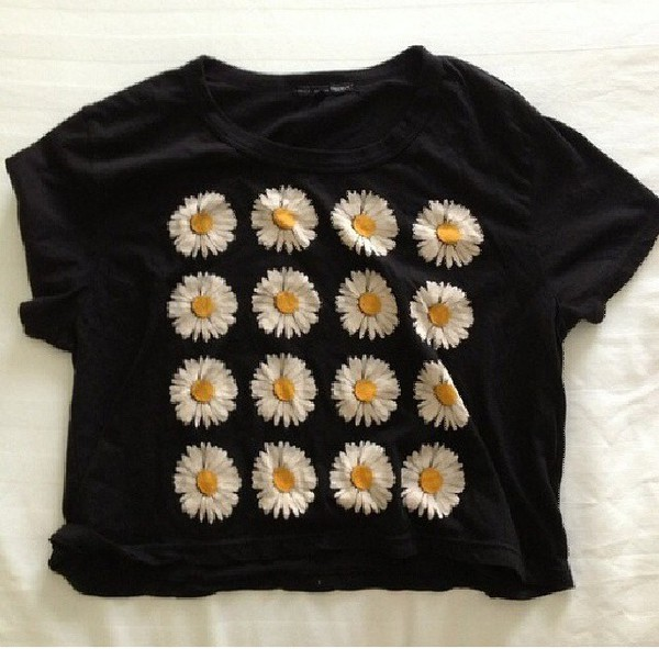t-shirt crop flowers daisy