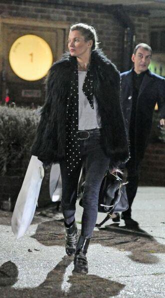 coat fur coat fur kate moss jeans boots faux fur faux fur coat