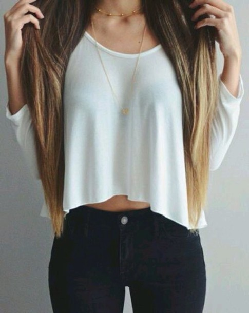 blouse jeans jewels long sleeves top shirt white blouse crop tops outfit tumblr cute casual tumblr outfit fashion style pretty ootd skinny jeans white black pants gold necklace in white pls tank top