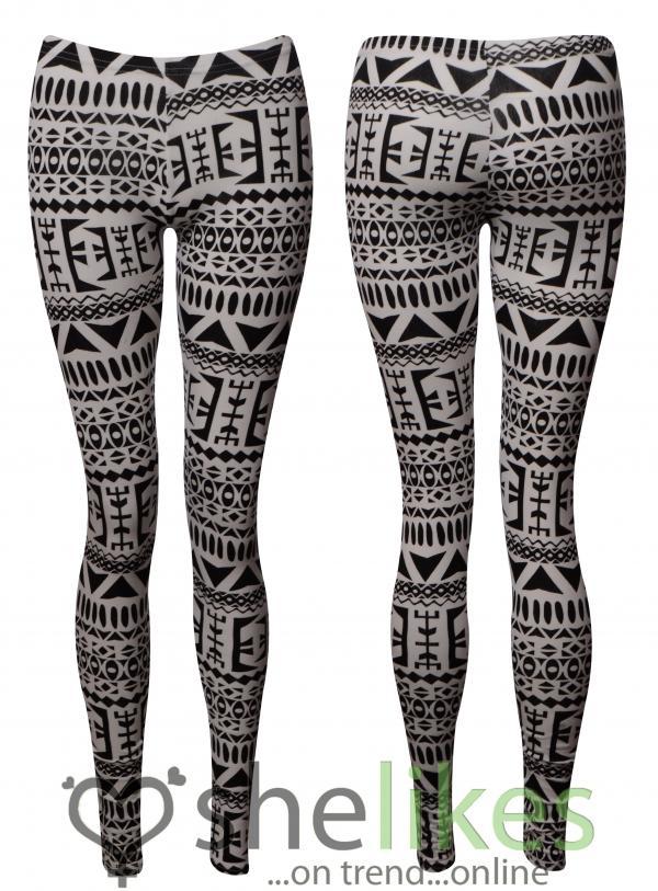 Womens Full Length Leggings Ladies Black White Aztec ...
