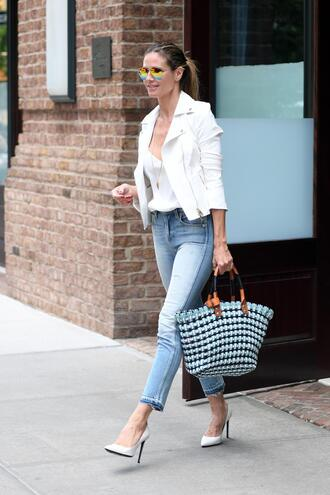 jeans streetstyle heidi klum jacket top spring outfits