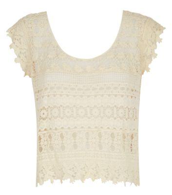 Cream Crochet Stripe Top