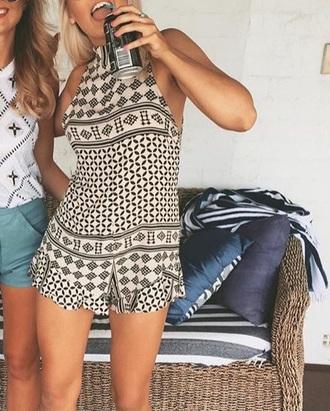 romper jumpsuit aztec print tribal pattern