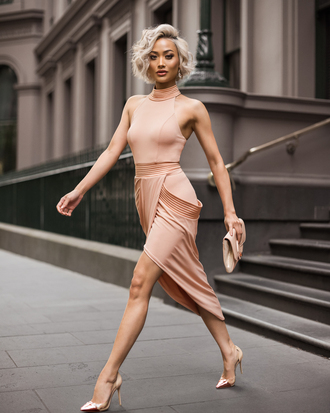 micah gianneli blogger dress jewels bag shoes nude dress peach dress clutch high heel pumps pumps