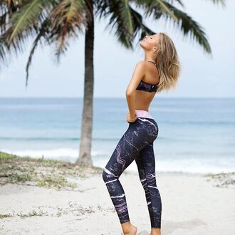 leggings yeah bunny yoga sportswear marble beach girly comfy activewear