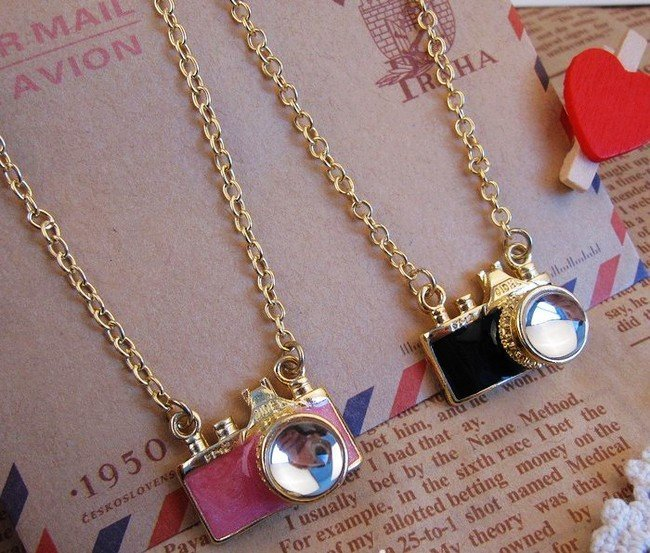 free shipping Retro pink and black Camera necklace ,cute necklace. 58cm chain length. 22.5*12mm pendant-in Chain Necklaces from Jewelry on Aliexpress.com | Alibaba Group