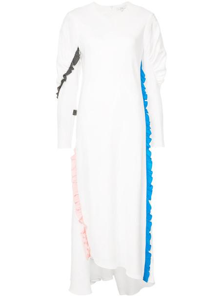 Tibi dress ruffle women white silk