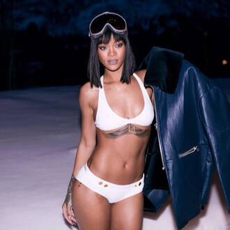 swimwear rihanna winter sports winter swag coat underwear rihanna swimsuit