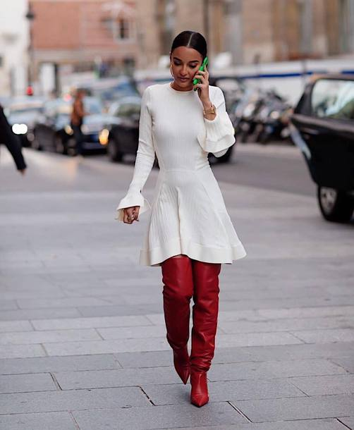 dress with white boots