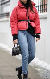 jacket,tumblr,red jacket,puffer jacket,down jacket,sweater,black sweater,denim,jeans,blue jeans,belt,logo belt,bag,black bag,boots,black boots