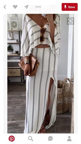 skirt two-piece stripes slit maxi skirt flowy top crop tops