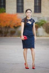 wearing fashion fluently,blogger,jewels,lips,clutch,lace dress,navy,earrings,dress,shoes,bag