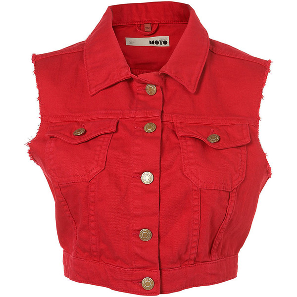Bright Denim Sleeveless Jacket - Polyvore