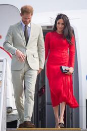 dress,red dress,red,midi dress,celebrity,meghan markle