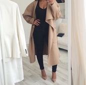 beige,coat,nude high heels,winter coat,camel coat,beige coat,jacket,tan,black,nude,heels,pumps,jumpsuit,classy,aliexpress,tumblr,shoes,leggings,wool,black girls killin it,waterfall,waterfall coat,nude coat,large collar,oversized coat,oversized collar,oversized collar coat,trench coat,wrap coat,wrap tie coat,wrap,flap clap coat,wrap over coat,wrap tie waste coat,nude  coat,tan coat,nude coat beige coat,long