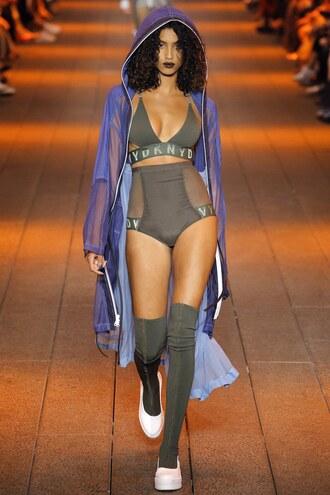 underwear imaan hammam bra bralette hoodie ny fashion week 2016 dkny runway model panties khaki